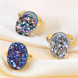 Crystal Geode Wholesale Australia - 10Pcs Blue Gold Rainbow Champagne Silver Druzy Ring Mystic Titanium Coated Raw Druzy Geode Crystal Cluster Stone Adjustable Statement Ring