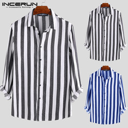 $enCountryForm.capitalKeyWord NZ - INCERUN 2019 Fashion Striped Men Business Dress Shirt Long Sleeve Button Lapel Neck Tops Casual Brand Shirt Men Slim Fit Camisa
