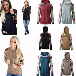 Wholesale floral sleeve raglan online – 6styles Women Patchwork Raglan Floral Printed Hoodies Hooded Pullover Autumn Long Sleeve Sweatshirts womens Clothing Tee Tops Casual Sweater