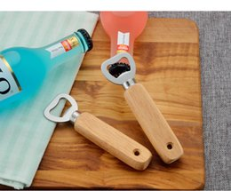 bottle opener wholesalers Australia - Free DHL 201910 Hot High Quality Simple Stainless Steel Bottle Opener With Hole Wooden Handle Home Bar Beer Bar Soft Water Opener N35A