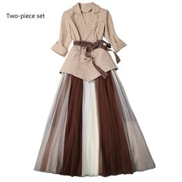 Discount swing mesh - Women's pleated skirt suit Casual suit Mesh stitching and swinging skirt New fashion Two-piece