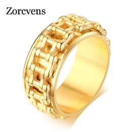 bicycle rings Australia - ZORCVENS Gold Color Hop Men Ring Motorcycle Biker Bicycle Chain Stainless Steel Wedding Brands Spinner Rock Male Jewelry