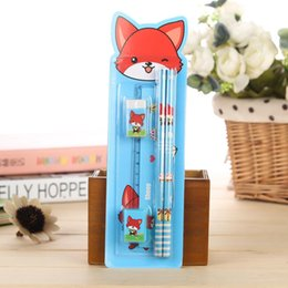girls erasers Australia - Wholesale-Cute Kawaii Cartoon 2 Pencils 1 Eraser 1 Pencil Sharpener 1 Rulers Stationery Set Girl Boy School Supplies For Kids