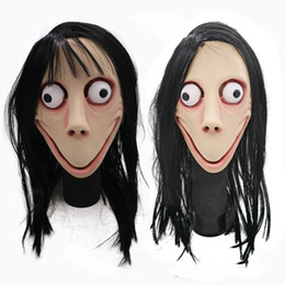 Discount momo wholesale - Halloween Party Mask For Adult Full Face Mask Hot Game MOMO SCARY Tern Hot Halloween Female Ghost Wig Cosplay Party Mask