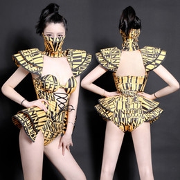chinese dance costumes women 2020 - printing Bodysuit Jazz Dance Costumes Bar Dj Dancers Sexy Nightclub DS Singer Rave Jumpsuit Stage Wear mask chinese folk