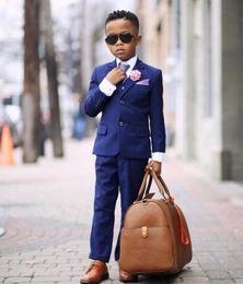 $enCountryForm.capitalKeyWord Australia - 2019 Dark Blue Boy Men Suits Two Button Notched Lapel Kids Wedding Tuxedos Ring Bearer Suits( jacket+pants+vest+tie)