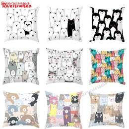 cat cushion for kids Australia - Cartoon Black And White Animal Plush Pillow Cute Bear Penguin Cat Pattern Car Backrest Chair Cushion For Kids Bedroom Decoration