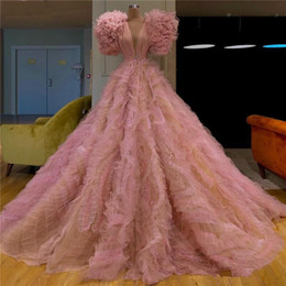 turkish soiree dresses UK - Vintage Puffy Pink Prom Dresses with Crystals V Neck Tulle Turkish Islamic robe de soiree Formal Evening Gowns
