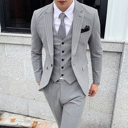 New prom tuxedos online shopping - 2019 New High Quality Striped Suit Fashion Men s Club Prom Formal Suit Groom Wedding Tuxedo Men s Clothing Coat Vest Pants