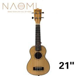 soprano ukulele guitar 2019 - NAOMI 21 Inch Ukulele Solid Spruce Top Zebrawood Back Mahogany Ukulele 4 String Hawaii Guitar Soprano Ukulele NEW discou