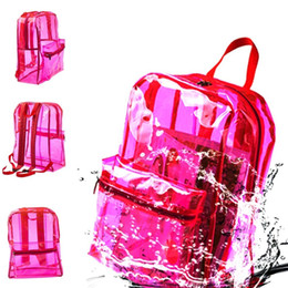 clear pvc backpacks NZ - Men Women Clear Backpack Pvc Transparent Waterproof Student School Bag Travel Casual Shoulder Bags good quality
