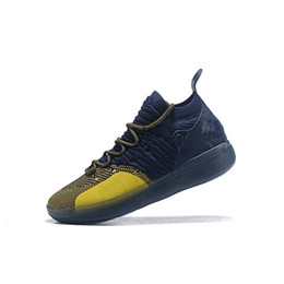 fcb73cb14a8c Cheap men kd 11 basketball shoes Michigan Navy Blue yellow boys girls youth  kids Kevin Durant xi kd11 sneakers boots kds for sale