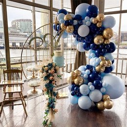 navy blue party supplies NZ - 117pcs Blue Balloon Garland Arch Kit Navy Blue Gold Balloons Baby shower Wedding Birthday party Kids Adult Decorations Supplies T200624