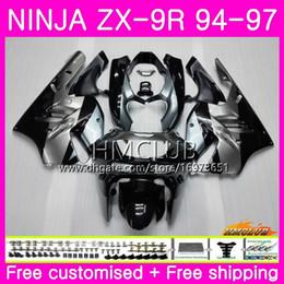 $enCountryForm.capitalKeyWord Australia - Bodys For KAWASAKI NINJA ZX 9R ZX900 ZX-9R 94 95 96 97 Kit Hot Black silver 69HM.7 ZX 9 R 94 97 900CC ZX9R 1994 1995 1996 1997 Full Fairing