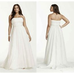 06da2cbcdc56 Vintage Strapless Chiffon Plus Size Wedding Dress Applique Lace Beaded  Empire Waist Bridal Gowns Customized Made