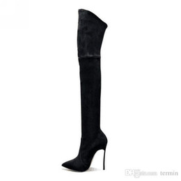 Boots Above Australia - Charm2019 Decent Boots High Boots With A Pointed Toe Made Of Elastic Imitation Leather Popable Boots Above The Knee Women's Shoes XZ-021