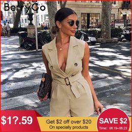 Office Jumpsuits Australia - Berrygo Women Rompers Elegant Sashes Khaki Playsuit Summer Womens Jumpsuit Office Ladies Playsuit Pockets Button Zipper Rompers J190622