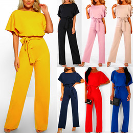 $enCountryForm.capitalKeyWord Australia - Nice Pop Women Short Sleeve Wide Leg Loose Solid Color Jumpsuit For Summer Cocktail Party Cgu 88