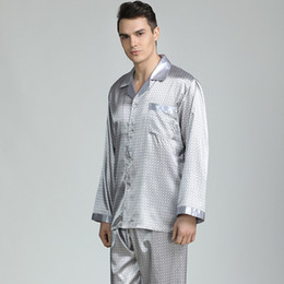 silk nightgown men Australia - Pajama Men Sleepwear Imitation Silk Pajamas for Men Sleepwear Sexy Cozy Soft Long Sleeve Nightgown Tops Trousers Two Piece Set