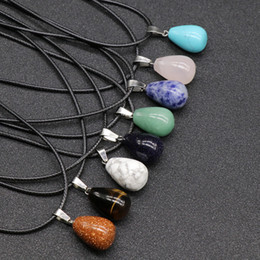 small stone necklace NZ - Multicolor Natural Stone Necklace Round Water Droplets Charm Small Pendant Natural Agate Stone Women Men Jewelry Designer Necklace Best Gift