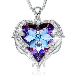 Free Shipping Valentines Gifts NZ - Crystals Necklaces Fashion Jewelry For Women Pendant Blue Rhinestone Heart Of Angel Lover Valentine' Gifts Free Shipping