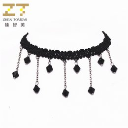 Lace neckLace diy online shopping - Hot Sale High Quality Fashion Black Crystal Pendant DIY Black Stretch Lace Choker Necklace for Women Dance Party Jewelry Bijoux