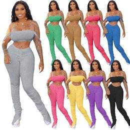 womens pleated pants Canada - Womens summer sexy 2 Two piece outfits sets fashion split pleated flared pants Wrap chest crop top tracksuits streetwear nightclub clothes