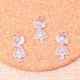 Hat Making Crafts Australia - 67pcs Antique Silver Plated girl hat Charms Pendants fit Making Bracelet Necklace Jewelry Findings Jewelry Diy Craft 12*24mm