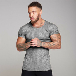Wholesale stock t shirt for sale - Group buy Gym Men Muscle Fitness Cotton Fit Tee Workout T Shirt Athletic Clothes US STOCK