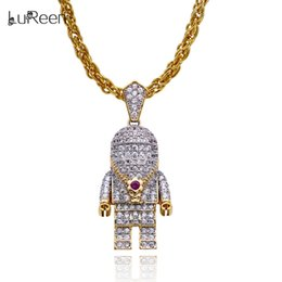 Necklaces Pendants Australia - LuReen Gold Silver Astronaut Iced Out Pendant Necklace Mens Hip Hop Spaceman Pendant Body Jewelry Gift