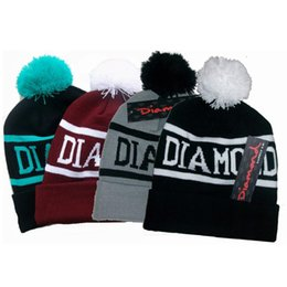 Pom Beanie Hats For Men Australia - Fashion Diamond Supply Co Beanie Knitted Beanie Hats Popular Skullies Warm Sport Causal Pom Caps Beanies Hats for Women Men Wholesale Price