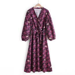 ChiC lanterns online shopping - 2019 women vintage v neck lantern sleeve little angel flower print long dress euro vestidos buttons casual chic dresses DS2740