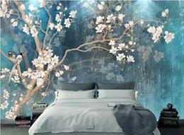 $enCountryForm.capitalKeyWord NZ - Custom 3D Stereo Vintage hand drawn magnolia flower Photo Wallpaper Background Wallpaper Mural Painting Dining Room TV Mural