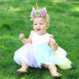 Wholesale Tutus Australia - INS Unicorn Sequined Baby Girl Princess Tutu Dress Rainbow Color Lace Boutique Romper Toddler Clothing Party Wedding Flower Girls Dresses
