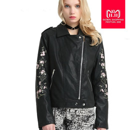 $enCountryForm.capitalKeyWord NZ - 2018 spring autumn fashion new women's embroidered PU leather jacket Korean short slim coat female motorcycle outwear L1014
