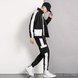 cardigan sets sale NZ - Autumn and winter new Korean Trend leisure sports suit men's Hoodie zipper coat top and pants two-piece set direct sales