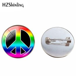 round hippie glasses NZ - New Fashion Hot Sale Hippie Sign Peace Glass Cabochon Jewelry Glass Cabochon Brooches Retro Hippie Style Jewelry Brooch Pins