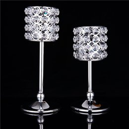 Wholesale Christmas Cylindrical Crystal Candle Holder Candlesticks Votive Candle Lantern Wedding Centerpiece Home Decor Silver