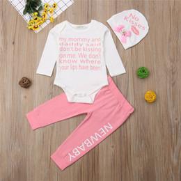 Long Pink Tutu Australia - 2019 free shipping ins newborn baby clothing girls white long sleeve + pink trousers + hat fashion three-piece