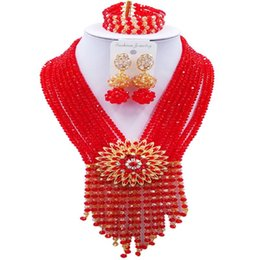 $enCountryForm.capitalKeyWord UK - Romantic Red Champagne Gold AB Crystal Beads Jewelry Sets for Women Engagement 8C-SK-25