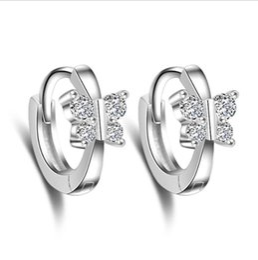 $enCountryForm.capitalKeyWord UK - New butterfly silver-plated earrings female Korean ear clip jewelry Explosion models beautiful fashion ear buckle Dangle & Chandelier