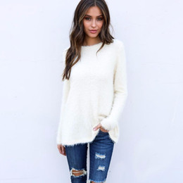 7007c7e937fda4 Discount fluffy knit sweater - Women Sweaters & Pullovers Nice Knitted Long  Sleeve Winter Tops Casual
