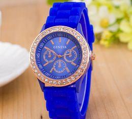 8d19b3bda01 Geneva watches dress online shopping - Luxury Diamond Geneva Watches  Silicone Stripe Wristwatches Fashion Candy Color