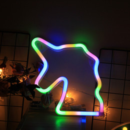 Wall Bedside Table Australia - LED Night Light Cartoon Bedside Wall Lamp Children Baby Unicorn Animal Head Table Lamp Decoration Use Party Home