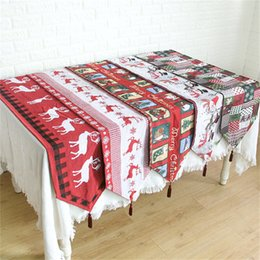 table cloth flags NZ - Christmas desktop decoration Christmas style table cloth home table flag table pad printing home supplies 5 styles T3I5356