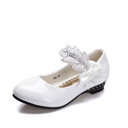 wedding dresses for dancing NZ - 2018 School Shoes Girls Party Shoes Kids Princess Wedding White For Girls Dress Childrens Leather Dancing Shoe EU 26-41