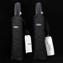 Alta Qualidade Bussiness Audi Couro Genuíno Lidar Com Marca Japonesa Sol Chuva Umbrella 3 Dobre Anti Uv Francês Real Q190603 em Promoção