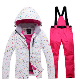 woman s ski suit Australia - Thicken Warm Women's Ski Suit Waterproof Windproof Skiing and Snowboarding Jacket Pants Set Female Snow Costumes Outdoor Wear