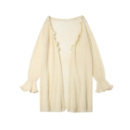 bohemian lights UK - Bohemian light yellow mohair cardigan beach wear 2019 long sleeve sexy dresses women clothing holiday pareos hot sale B-146