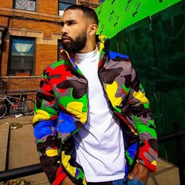 Wholesale colorful zipper jacket resale online – Women Men Winter Turtleneck Down Coat Colorful Camouflage Printed Puffer Jacket Warm Thicken Padded Full Zipper Outwear